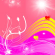 Stockfoto: Abstract pink and red background with hearts, sun and plants