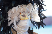 A black and white feathers mask at Carnival of Venice — Stock Photo