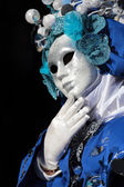 Mask on black background at the Carnival of Venice — Stock Photo