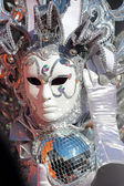 Silver mask with light twinkles at Carnival of Venice — Stock Photo