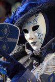 Blue mask with a mirror at Carnival of Venice — Stock Photo