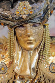 Golden mask at Carnival of Venice — Stock Photo