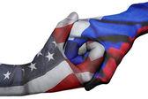 Handshake between United States and Russia — Stock Photo