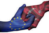 Handshake between European Union and Turkey — Stock Photo