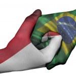 Handshake between Indonesia and Brazil — Stock Photo #50068913