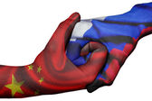 Handshake between China and Russia — Stock Photo