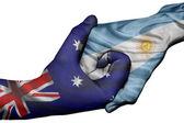 Handshake between Australia and Argentina — Stock Photo