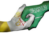 Handshake between Vatican City and Saudi Arabia — Stock Photo