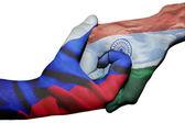 Handshake between Russia and India — Stock Photo