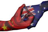 Handshake between China and Australia — Stock Photo