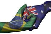 Handshake between Brazil and Australia — Stock Photo