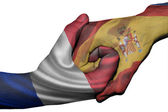 Handshake between France and Spain — Stock Photo