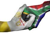 Handshake between Vatican City and South Africa — Stock Photo