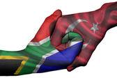 Handshake between South Africa and Turkey — Stock Photo