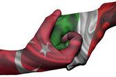 Handshake between Turkey and Italy — Stock Photo