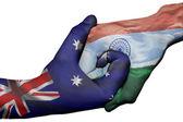 Handshake between Australia and India — Stock Photo