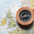 Travel destination United Kingdom and Ireland, map with compass — Stock Photo #50252013
