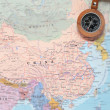 Travel destination China, map with compass — Stock Photo #50252455