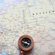Travel destination Moscow Russia, map with compass — Stock Photo #50252671