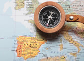 Travel destination Spain, map with compass — Stock Photo