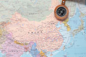 Travel destination China, map with compass — Stock Photo
