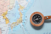 Travel destination Japan, map with compass — Stock Photo