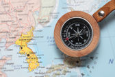 Travel destination North and South Korea, map with compass — Stockfoto