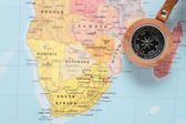 Travel destination South Africa, map with compass — Stock Photo