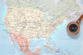 Travel destination United States, map with compass — Stock Photo
