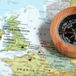 Travel destination United Kingdom and Ireland, map with compass — Stock Photo #50367515