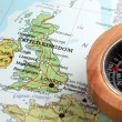 Travel destination United Kingdom and Ireland, map with compass — Stock Photo #50367541