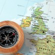 Travel destination United Kingdom and Ireland, map with compass — Stock Photo #50367573