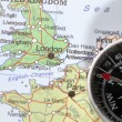 Travel destination London United Kingdom, map with compass — Stock Photo #50367731