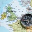 Travel destination United Kingdom and Ireland, map with compass — Stock Photo #50367959