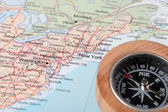 Travel destination New York United States, map with compass — Stockfoto