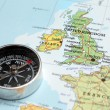 Travel destination United Kingdom and Ireland, map with compass — Stock Photo #50381499