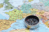 Travel destination France, map with compass — Stock Photo