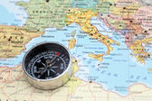 Travel destination Italy, map with compass — Stock Photo