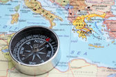 Travel destination Greece, map with compass — Stock Photo