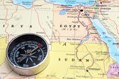 Travel destination Egypt, map with compass — Stock Photo