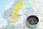 Travel destination Norway Sveden and Finland, map with compass — Stok fotoğraf