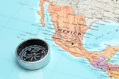 Travel destination Mexico, map with compass — Stock Photo