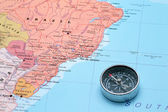 Travel destination Brazil, map with compass — Stock Photo