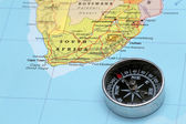 Viaggio destinazione sud africa, mappa con bussola — Foto Stock