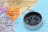 Travel destination Kenya, map with compass — Foto Stock