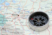 Travel destination Moscow Russia, map with compass — Stockfoto