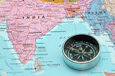 Travel destination India, map with compass — Stock Photo