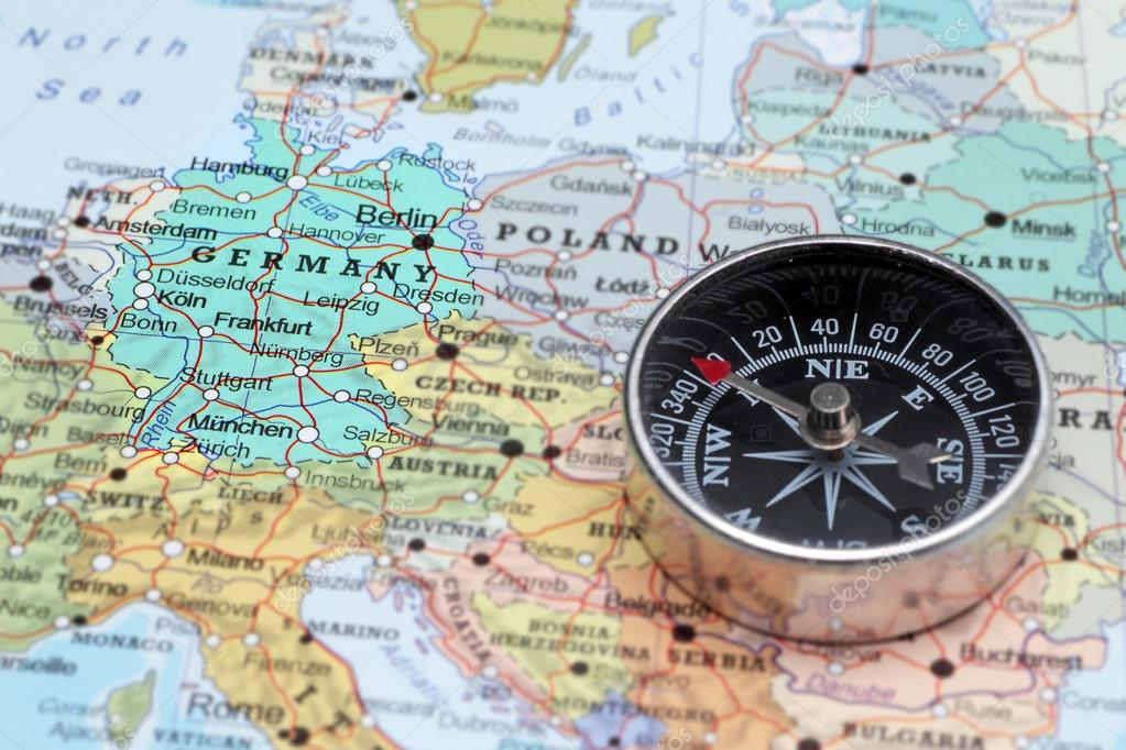 Travel destination Germany map with compass Photo – Germany Travel Map