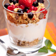 yogurt with muesli — Stock Photo