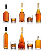 Set of brandy bottles — Stock Photo